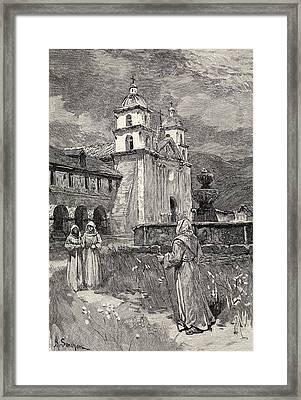 Fountain And Mission Santa Barbara Framed Print