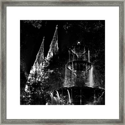 Fountain And Spires Framed Print by Renee Sullivan