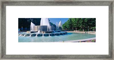 Fountain And Us Capitol Building Framed Print by Panoramic Images