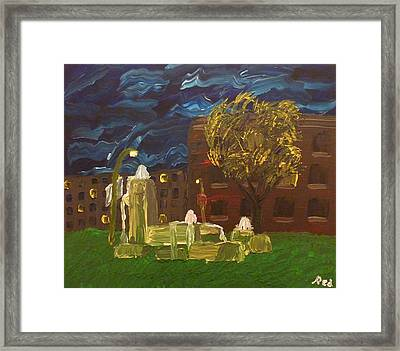 Fountain At Night Framed Print by Joshua Redman