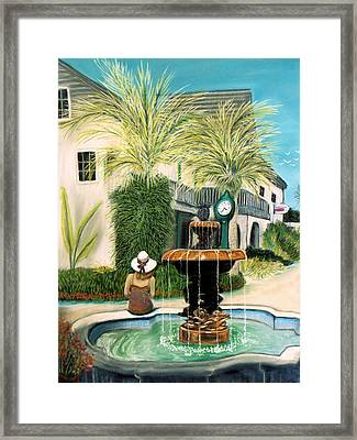 Framed Print featuring the pastel Fountain At St. Augustine by Jan Amiss