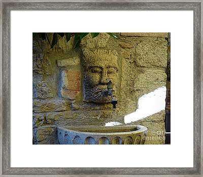 Fountain Beam Of Light Framed Print