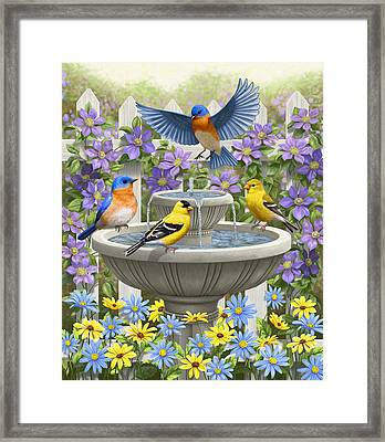 Fountain Festivities - Birds And Birdbath Painting Framed Print