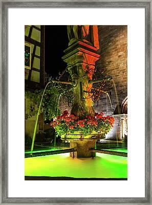 Fountain Of Kaysersberg By Night Framed Print