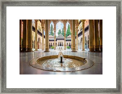 Fountain Of Lions At The Alhambra Framed Print