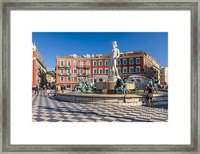 Fountain Of The Sun At Place Massena In Nice Framed Print