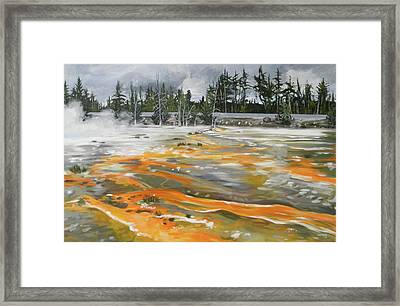 Fountain Paint Pots, Wyoming Framed Print