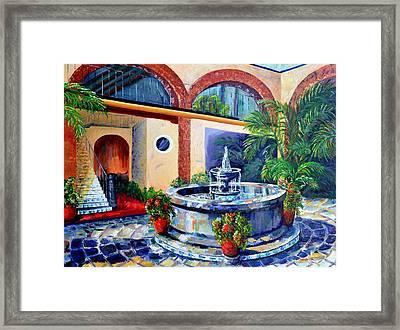 Fountain Patio Framed Print