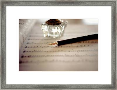 Fountain Pen Atop Sheet Music Framed Print by Nico De Pasquale Photography