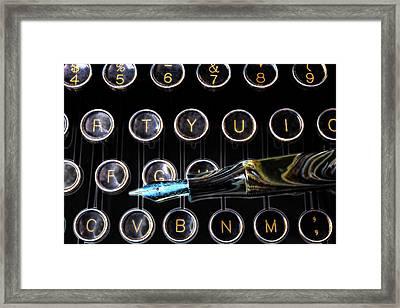 Fountain Pen On Typewriter Keys Framed Print by Garry Gay