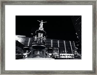 Fountain Square Bw Framed Print