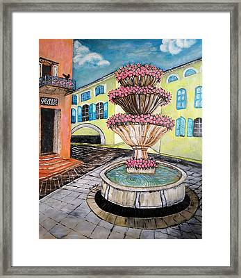 Fountain Square In Grasse, Southern France Framed Print by Jo lan Tao