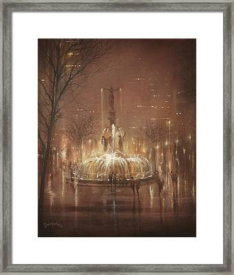 Fountain Square Framed Print by Tom Shropshire