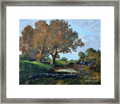 Fontainbleau Forest With Figure Framed Print