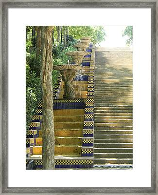 Fountains At Montjuic Framed Print by Marwan George Khoury