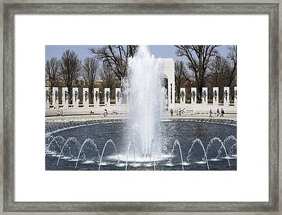 Fountains At The World War II Memorial In Washington Dc Framed Print
