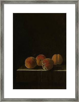Four Apricots On A Stone Plinth Framed Print