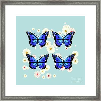 Four Blue Butterflies Framed Print by Gaspar Avila