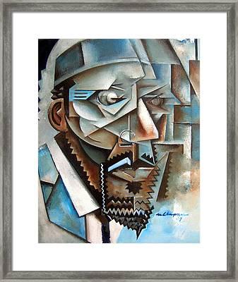 Four Blue Monk Framed Print by Martel Chapman