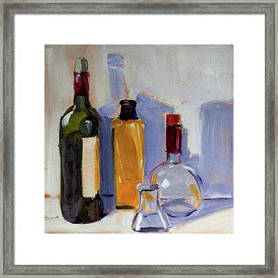 Framed Print featuring the painting Four Bottles by Nancy Merkle