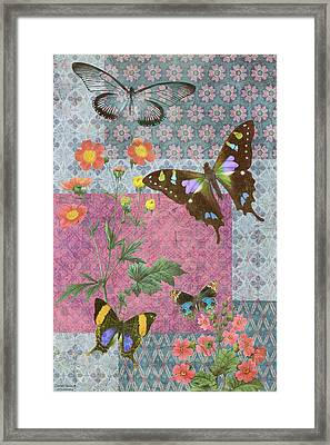 Four Butterfly Patch Blue Framed Print