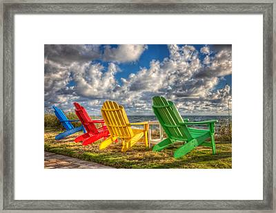 Four Chairs At The Beach Framed Print by Debra and Dave Vanderlaan