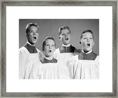 Four Choir Boys Singing, C.1950-60s Framed Print by H. Armstrong Roberts/ClassicStock
