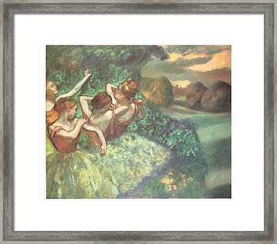 Four Dancers Framed Print by Edgar Degas