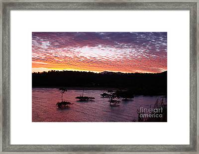 Framed Print featuring the photograph Four Elements Sunset Sequence 3 Coconuts Qld by Kerryn Madsen - Pietsch