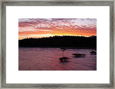 Framed Print featuring the photograph Four Elements Sunset Sequence 5 Coconuts Qld  by Kerryn Madsen - Pietsch