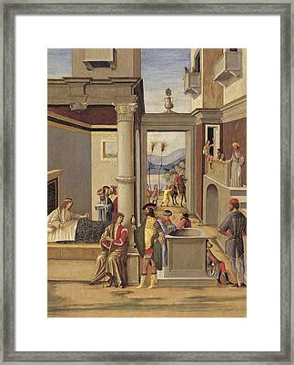 Four Episodes From The Life Of Alexander The Great Framed Print by Follower of Vittore Carpaccio