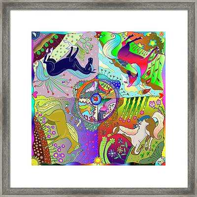 Framed Print featuring the digital art Four Fabulous Horses by Marti McGinnis