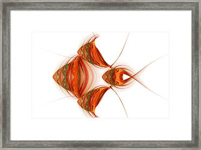 Framed Print featuring the digital art Four Fractal Fishies by Richard Ortolano