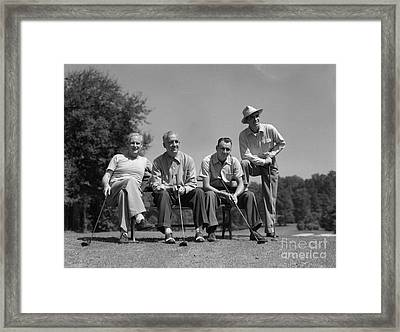 Four Golfers, C.1940-50s Framed Print by H. Armstrong Roberts/ClassicStock