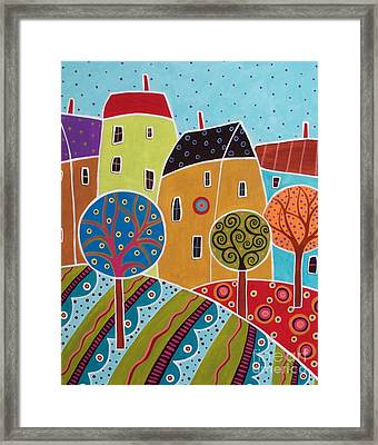 Four Houses Three Trees Landscape Framed Print by Karla Gerard