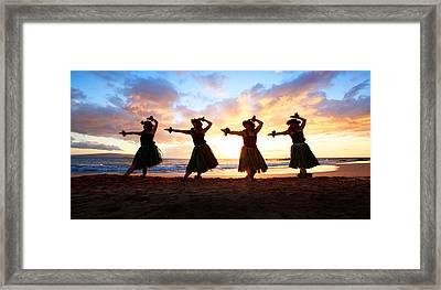 Four Hula Dancers At Sunset Framed Print