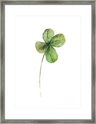 Four Leaf Clover Watercolor Poster Framed Print by Joanna Szmerdt