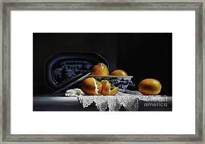 Four Lemons With Canton Framed Print by Larry Preston