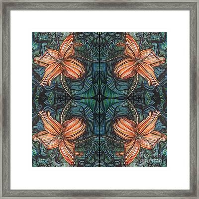 Four Lilies Leaf To Leaf Framed Print