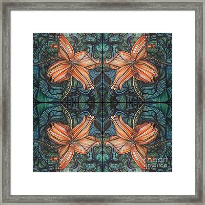 Four Lilies Looking In Framed Print