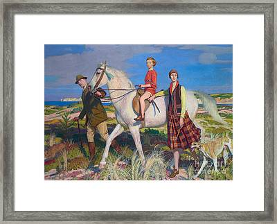 Four Loves I Found, A Woman, A Child, A Horse And A Hound Framed Print by Celestial Images