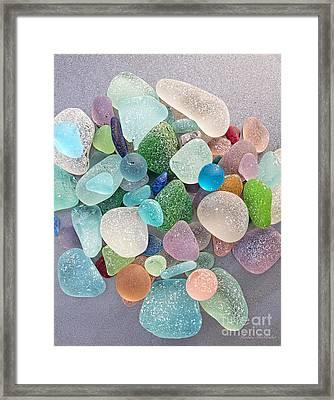 Four Marbles And A Rainbow Of Beach Glass Framed Print