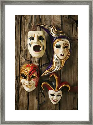 Four Masks Framed Print by Garry Gay
