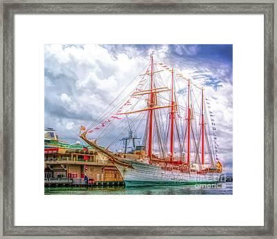 Four Masted Schooner In Port Framed Print