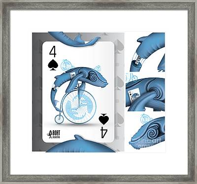 Four Of Spades / Whalobike Framed Print by Vlada Bortnovska