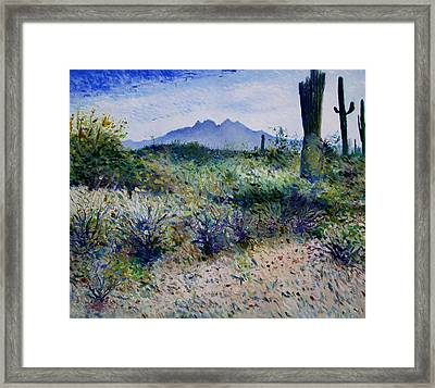 Four Peaks Phoenix Arizona Usa 2003  Framed Print by Enver Larney