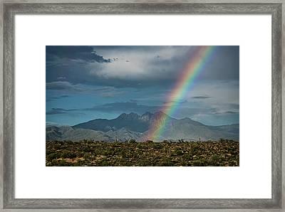 Framed Print featuring the photograph Four Peaks Rainbow  by Saija Lehtonen