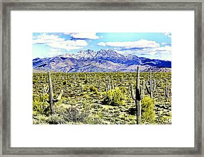 Four Peaks Framed Print by Sharon Broucek