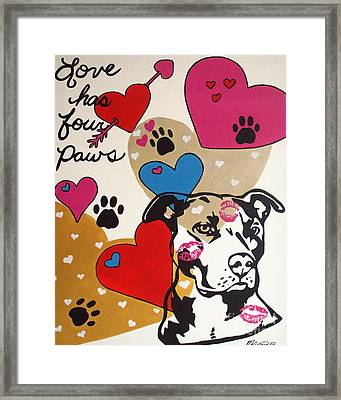 Four Pitty Paws Framed Print by Melissa Goodrich