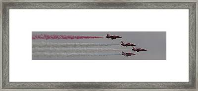 Framed Print featuring the photograph Four Red Arrows Smoke Trail - Teesside Airshow 2016 by Scott Lyons